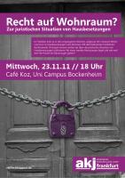 akj Plakat Veranstaltung zu Hausbesetzungen 23.11.2011